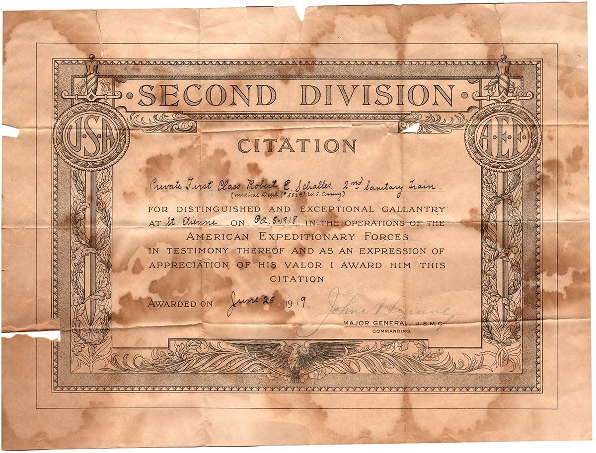 2nd Division Citation for Robert E. Schalles