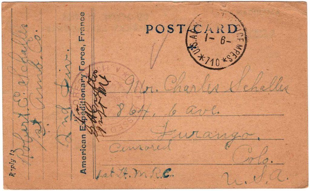 World War One (WWI) Postcard by Robert E. Schalles, December 29, 1918, Front