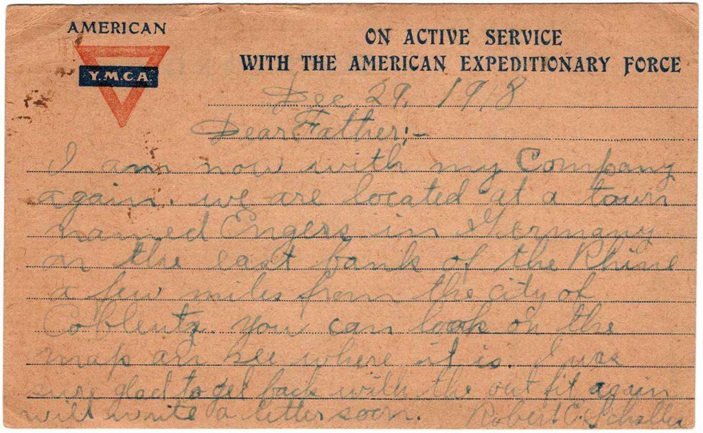 World War One (WWI) Postcard by Robert E. Schalles, December 29, 1918, Back