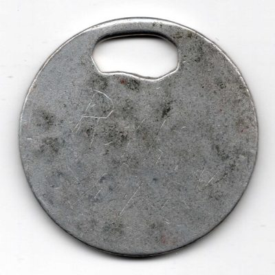 World War One (WWI) Dog Tag of Robert E. Schalles oval hole - Back
