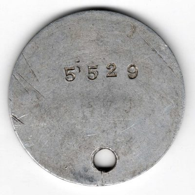 World War One (WWI) Dog Tag of Robert E. Schalles round hole - Back