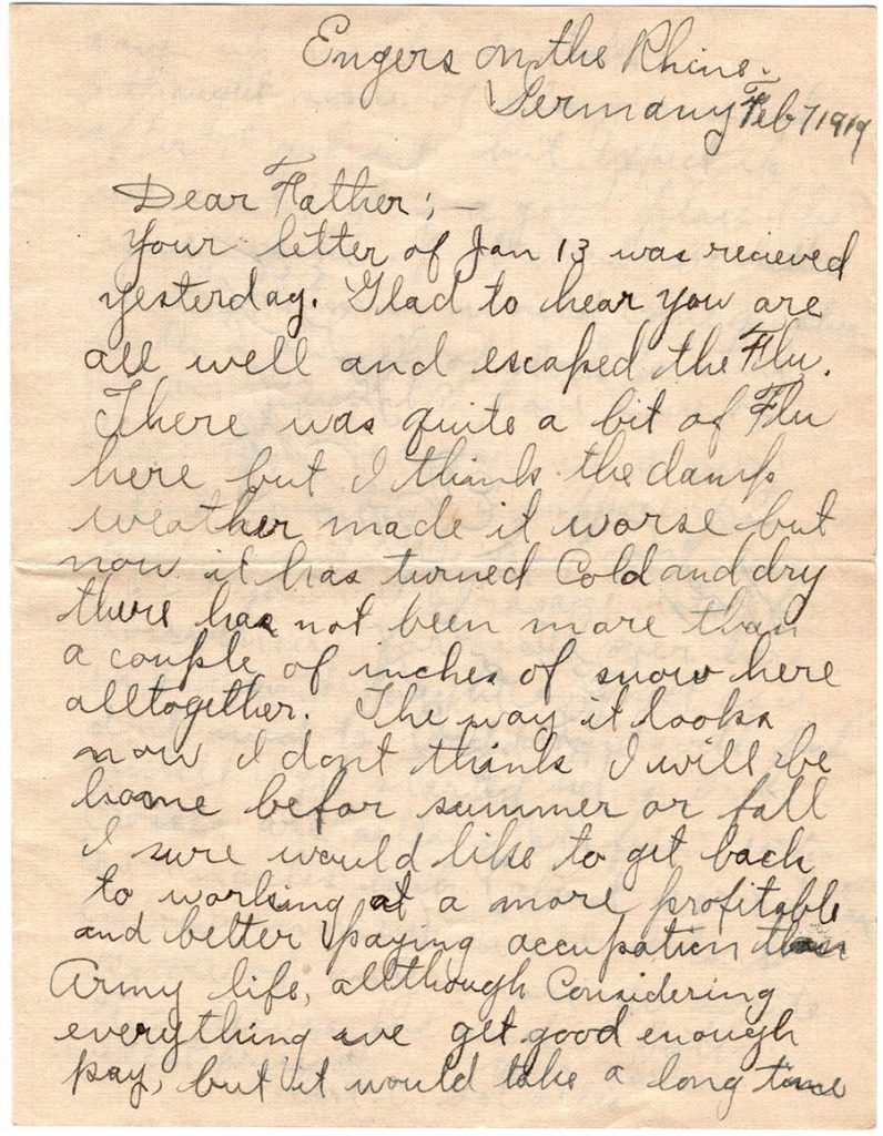 World War One (WWI) Letter by Robert E. Schalles, February 7, 1919, Page 1