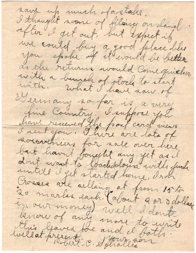 World War One (WWI) Letter by Robert E. Schalles, February 7, 1919, Page 2