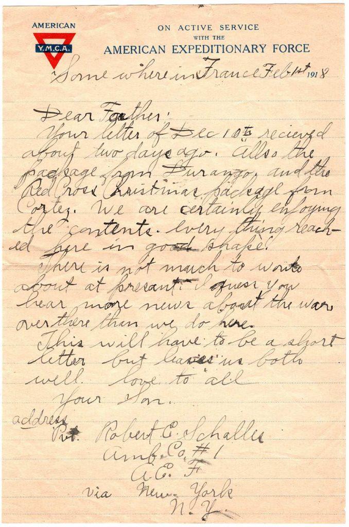 Robert E. Schalles World War One Letter, February 1, 1918