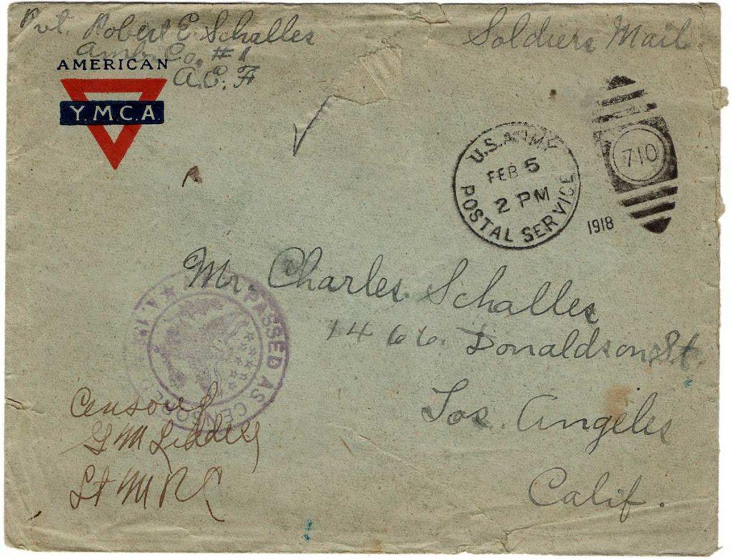 Robert E. Schalles World War One Envelope, February 1, 1918