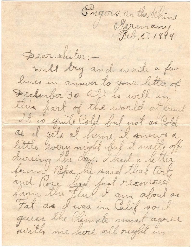 World War One (WWI) Letter by Robert E. Schalles, February 5, 1919, Page 1
