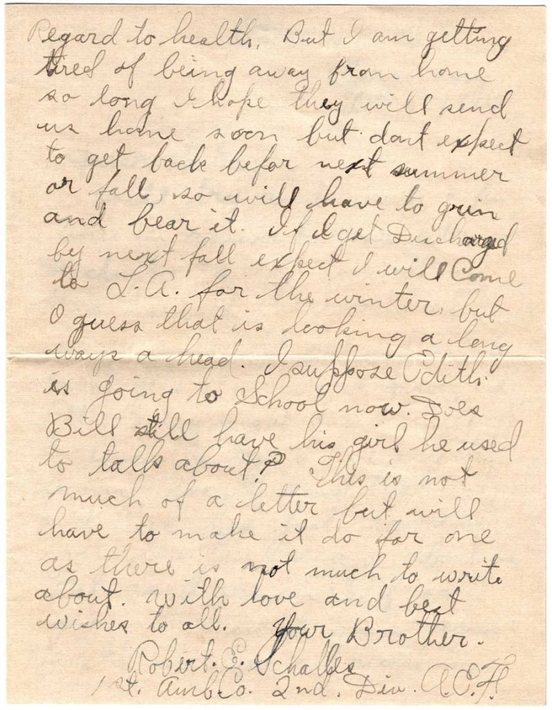 World War One (WWI) Letter by Robert E. Schalles, February 5, 1919, Page 2