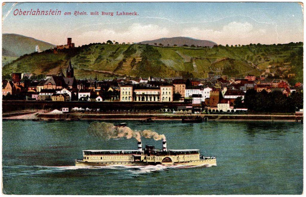 World War One (WWI) Postcard, Oberlahnstein am Rhein, mit Burg Lahneck