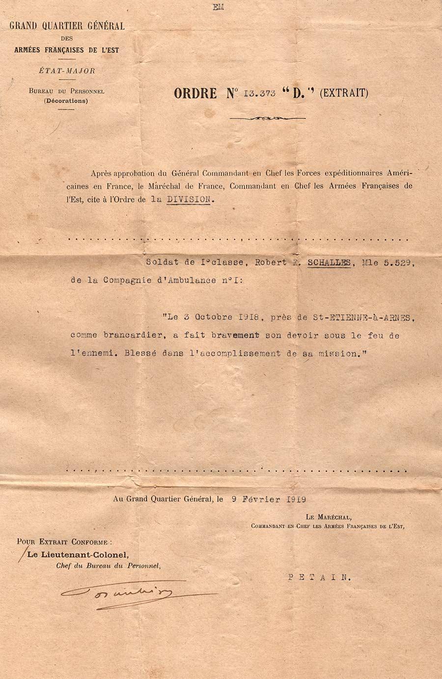 French citation for Robert E. Schalles, World War One