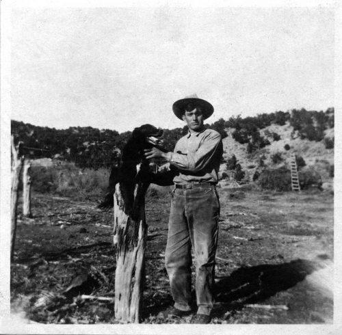 Robert Schalles with dog before the war