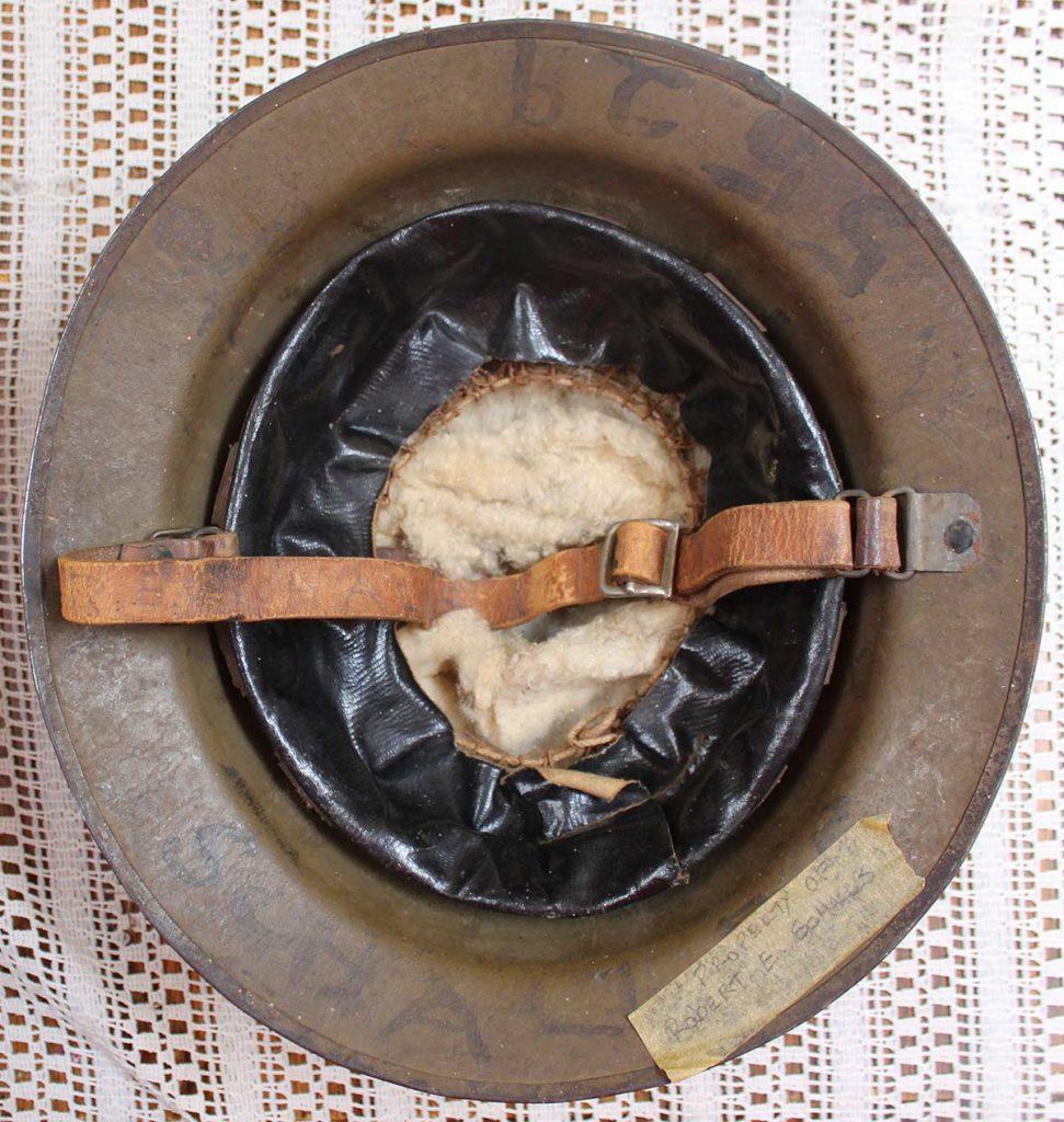 World War One (WWI) Helmet of Robert E. Schalles (Inside view)