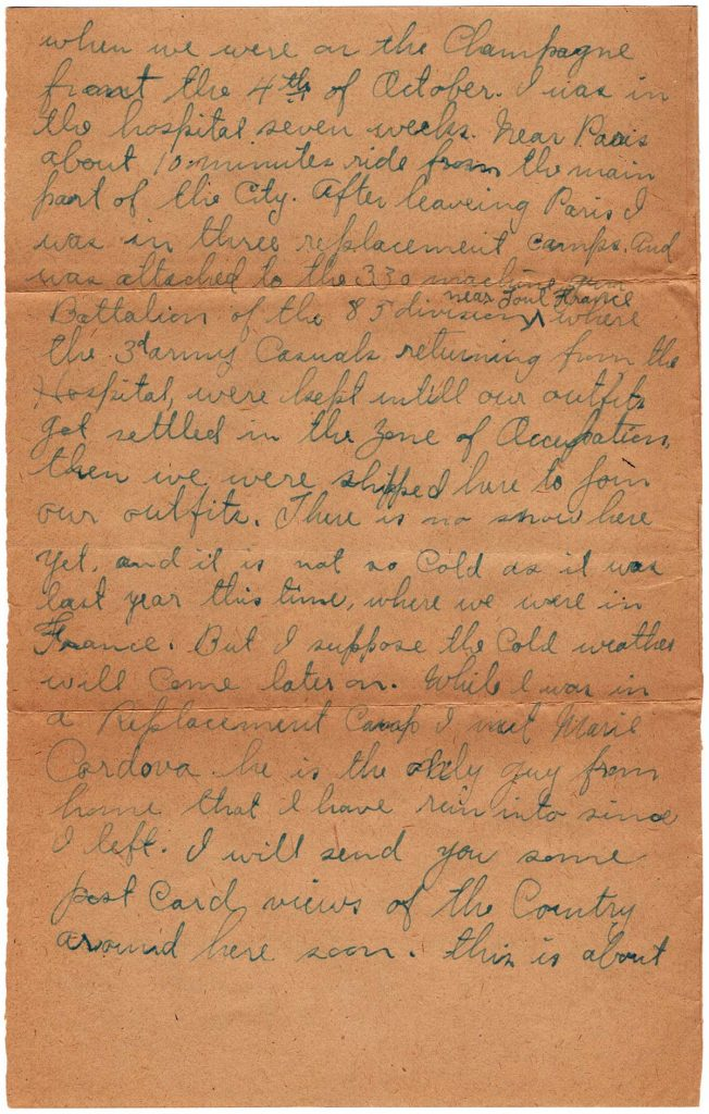 World War One (WWI) Letter by Robert E. Schalles, January 1, 1919, Page 2