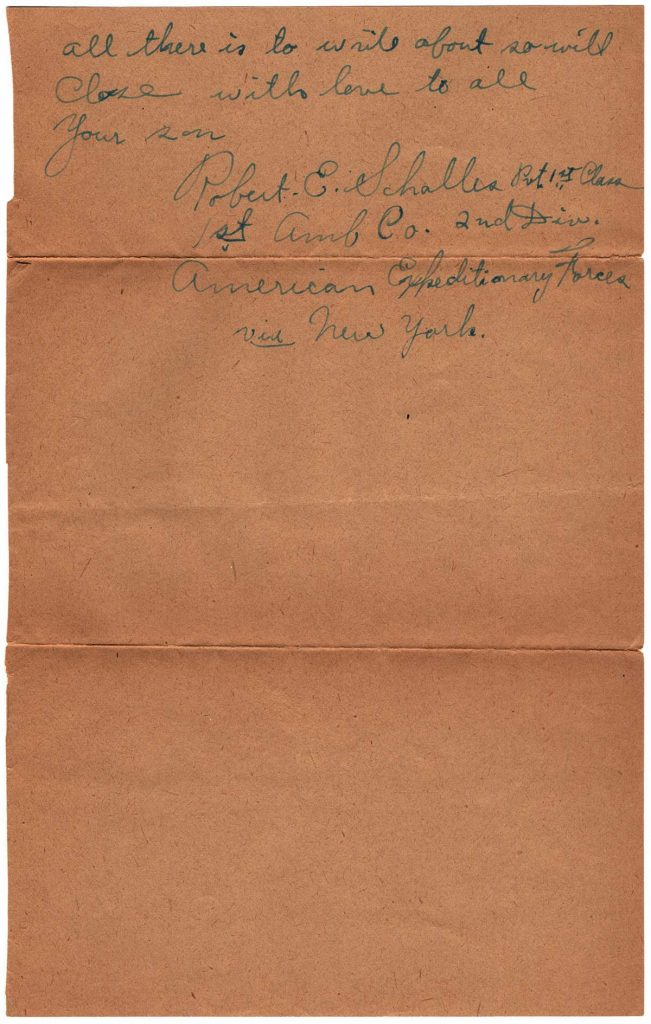 World War One (WWI) Letter by Robert E. Schalles, January 1, 1919, Page 3