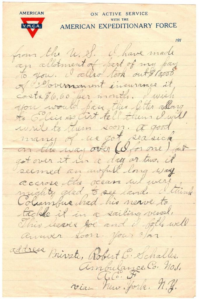 World War One letter of Robert E. Schalles, January 17, 1918 Page 2