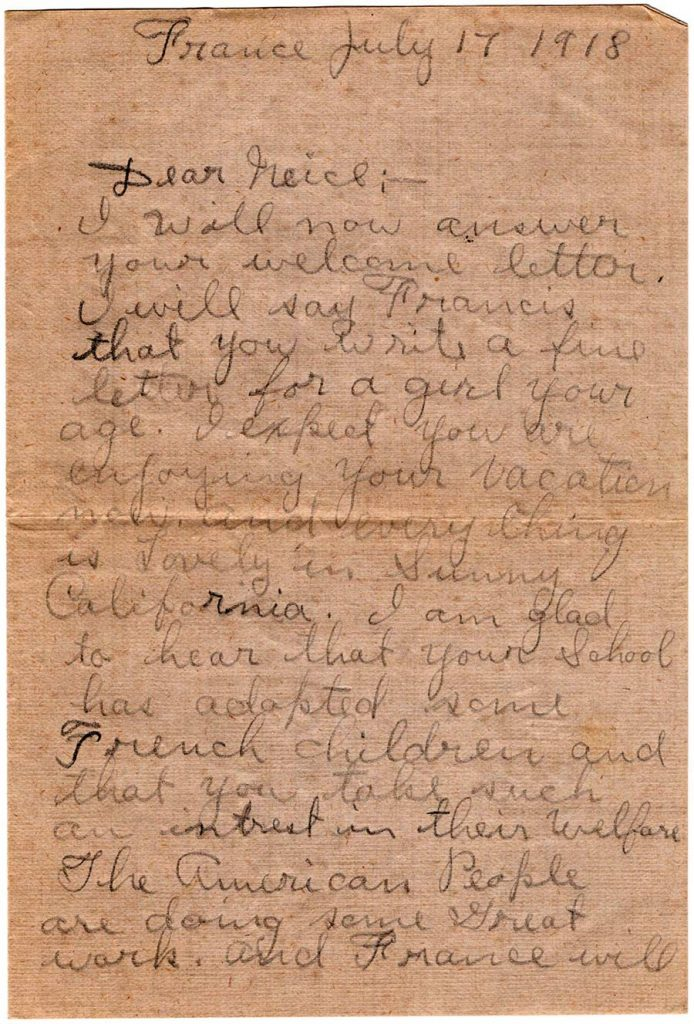 World War One (WWI) Letter by Robert E. Schalles, July 17, 1918, Page 1