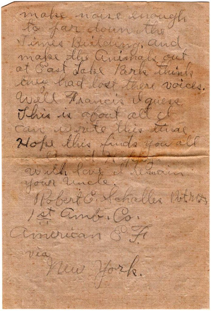 World War One (WWI) Letter by Robert E. Schalles, July 17, 1918, Page 2