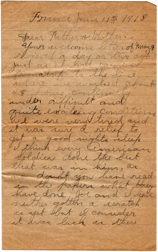 World War One (WWI) Letter by Robert E. Schalles, June 11, 1918, page 1