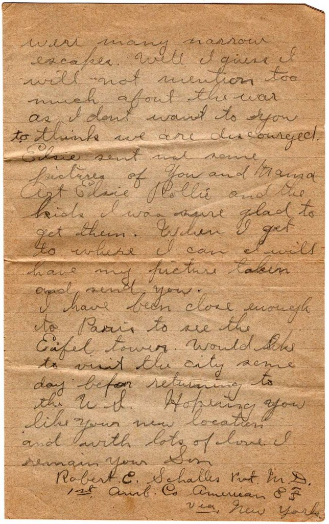 World War One (WWI) Letter by Robert E. Schalles, June 11, 1918, page 2