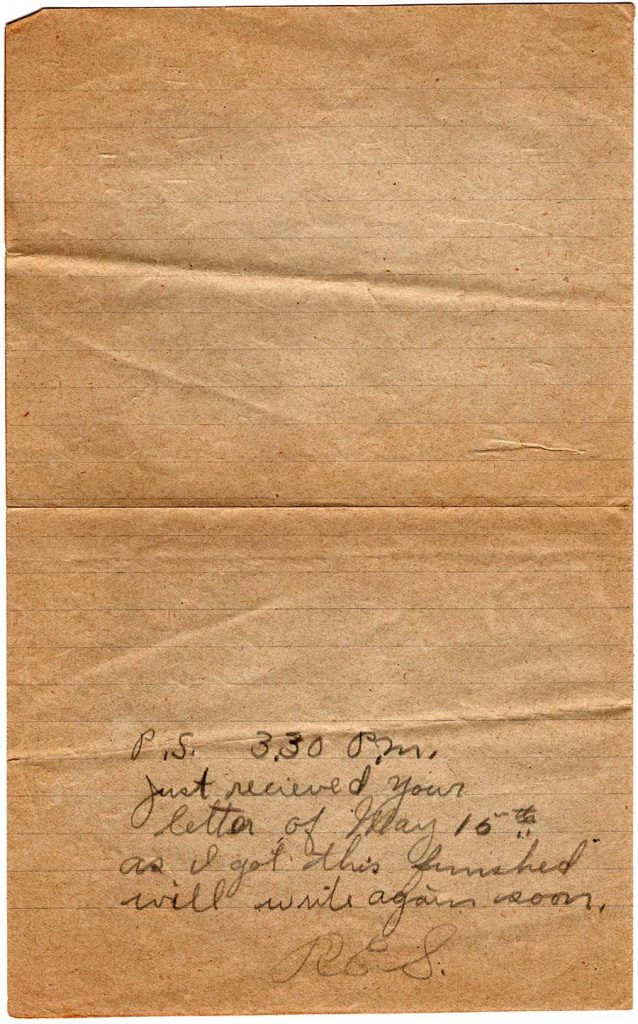 World War One (WWI) Letter by Robert E. Schalles, June 11, 1918, page 3