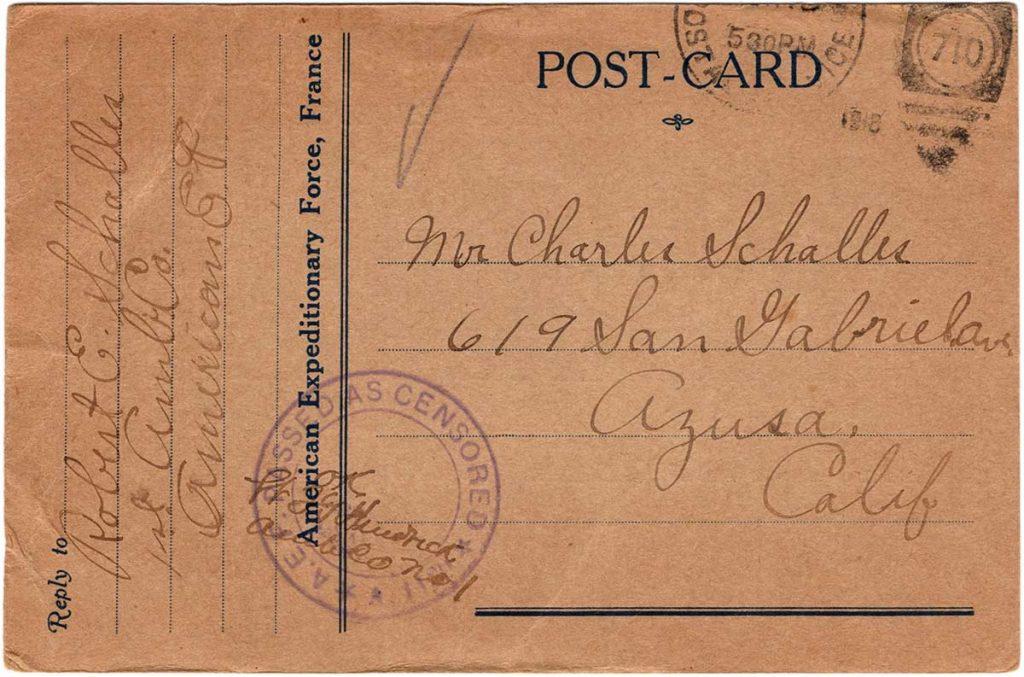 World War One (WWI) Postcard by Robert E. Schalles, June 16, 1918 - Front