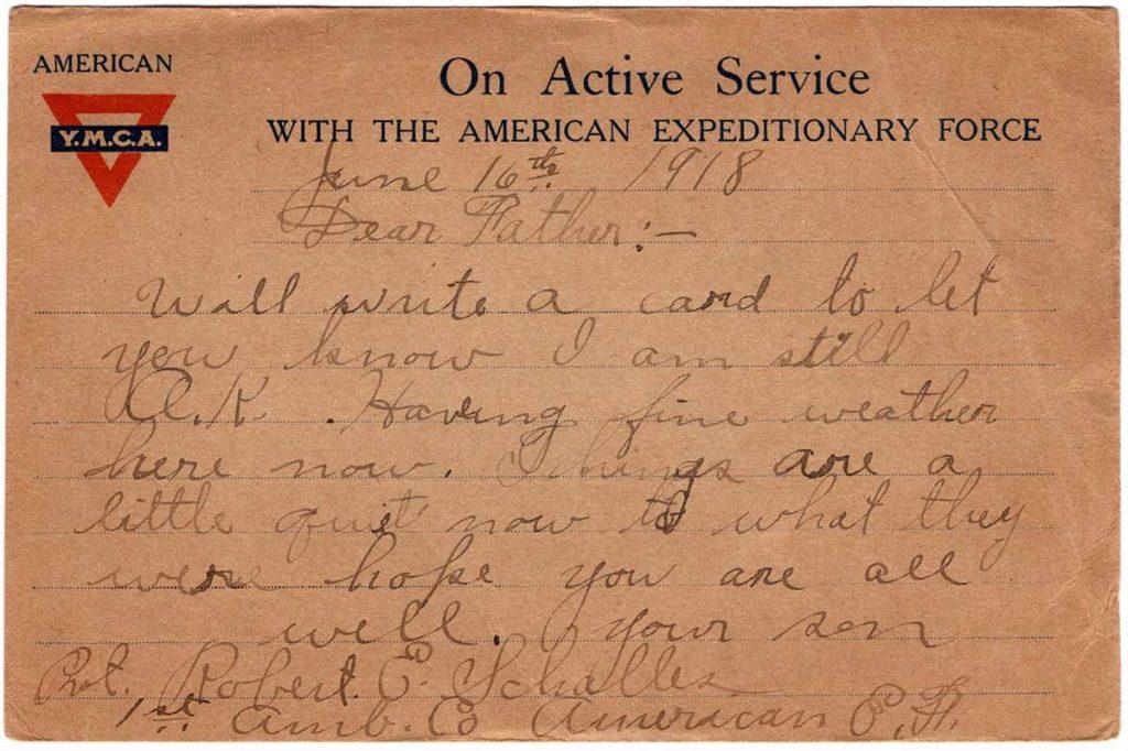 World War One (WWI) Postcard by Robert E. Schalles, June 16, 1918 - Back