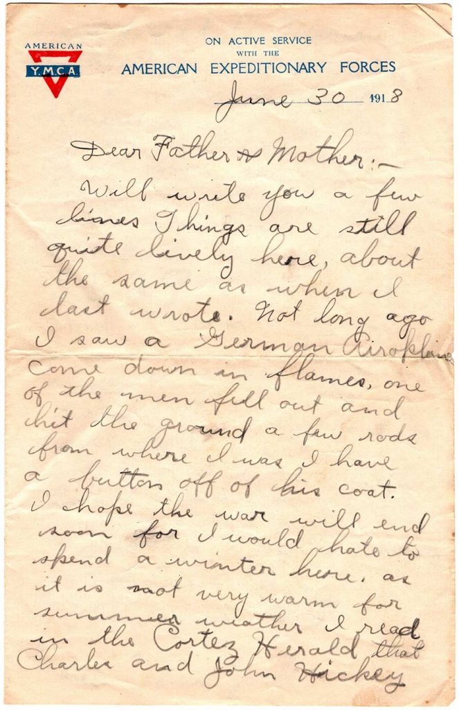 World War One (WWI) Letter by Robert E. Schalles, June 30, 1918 - Page 1