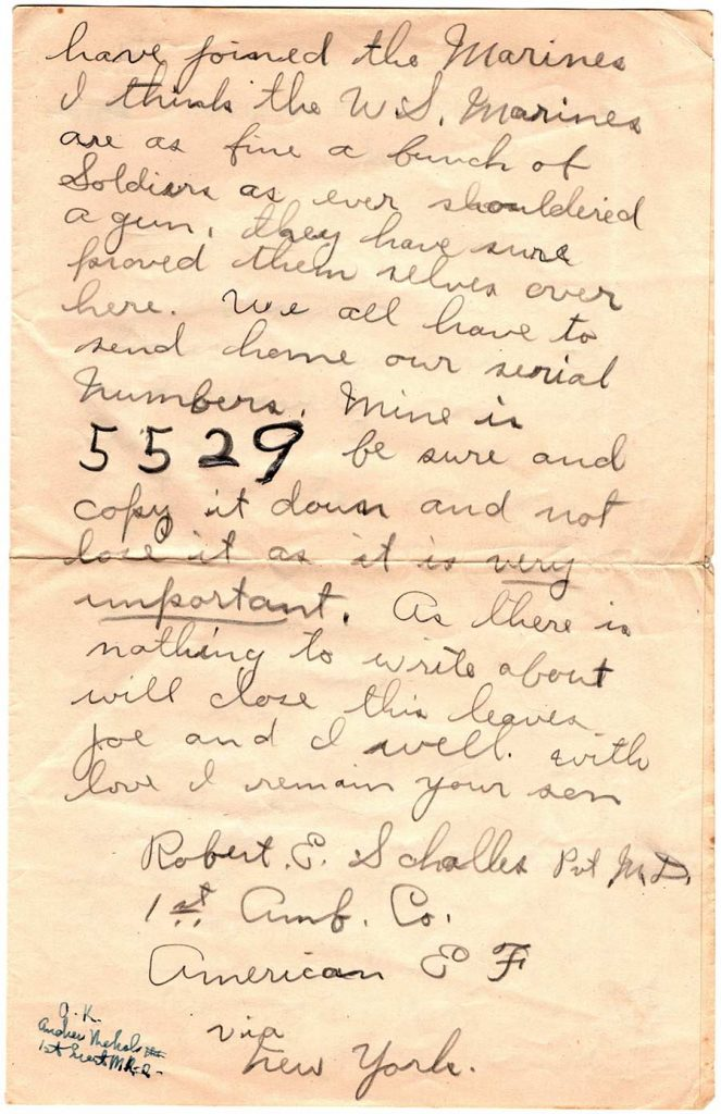 World War One (WWI) Letter by Robert E. Schalles, June 30, 1918 - Page 2