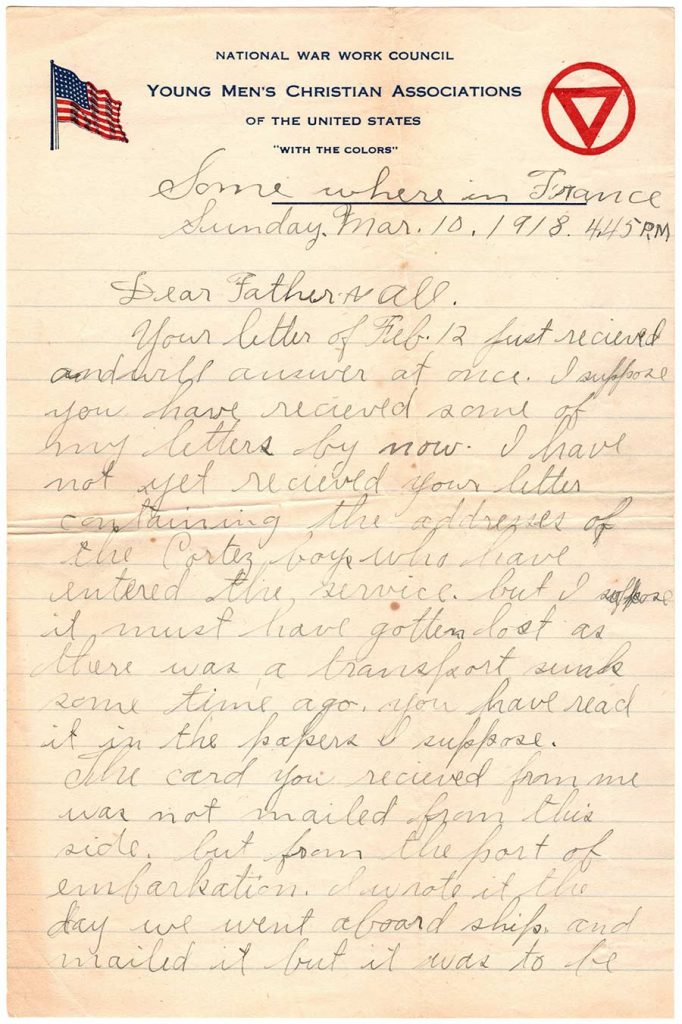 Robert E. Schalles World War One Letter, March 10, 1918, Page 1
