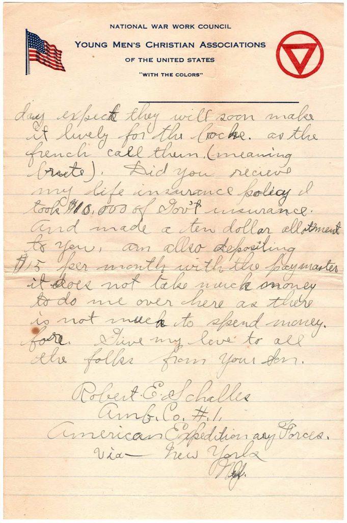 Robert E. Schalles World War One Letter, March 10, 1918, Page 4