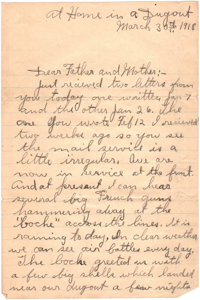 World War One (WWI) Letter by Robert E. Schalles, March 30, 1918, page 1