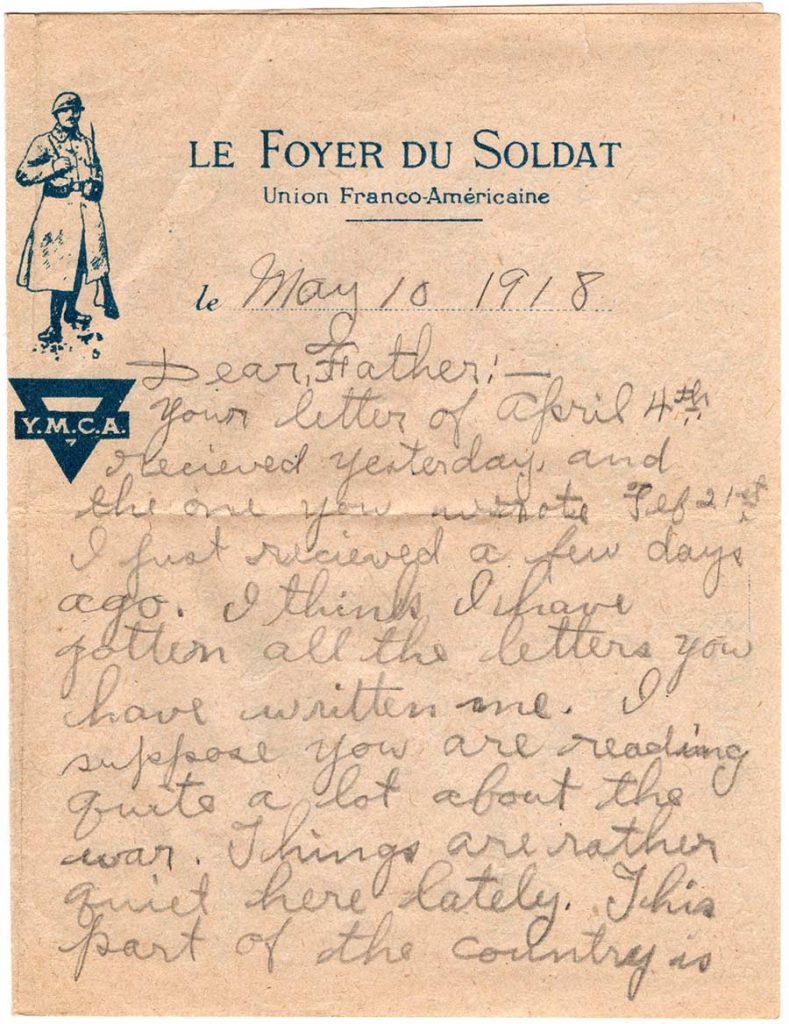 World War One (WWI) Letter by Robert E. Schalles, May 10, 1918, page 1