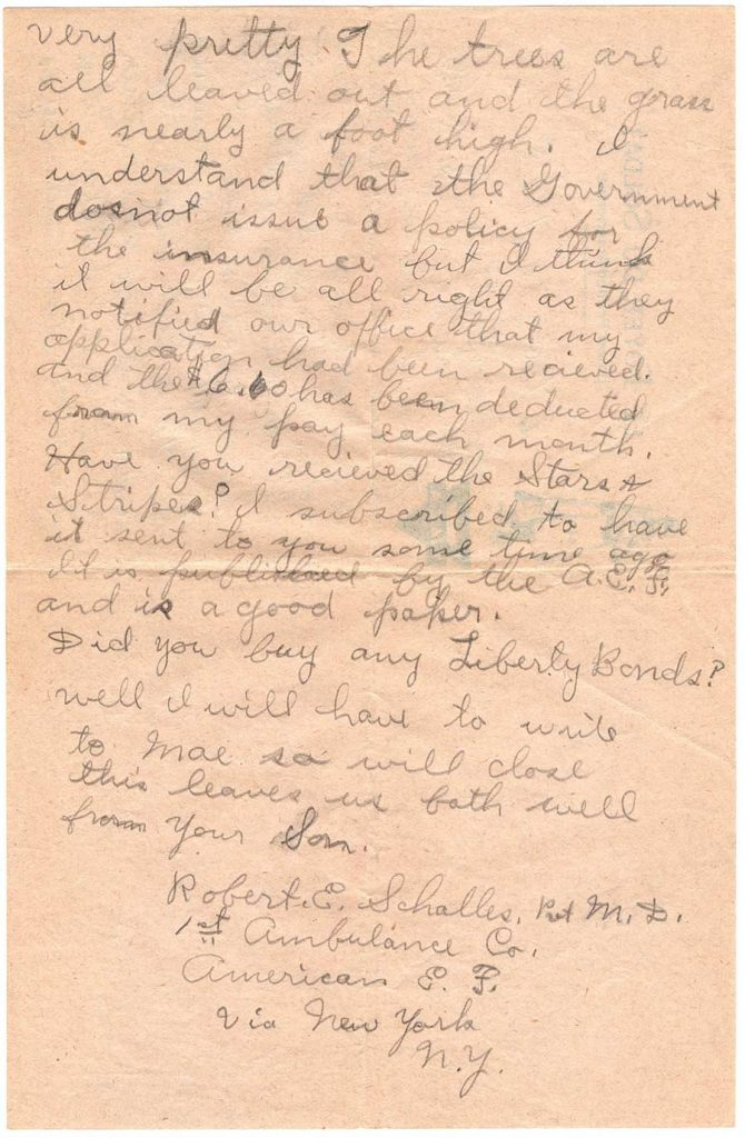 World War One (WWI) Letter by Robert E. Schalles, May 10, 1918, page 2