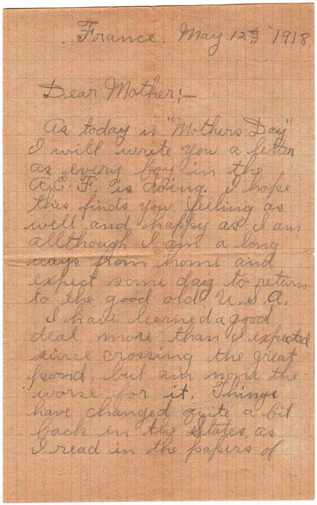 World War One (WWI) Letter by Robert E. Schalles, May 12, 1918, page 1