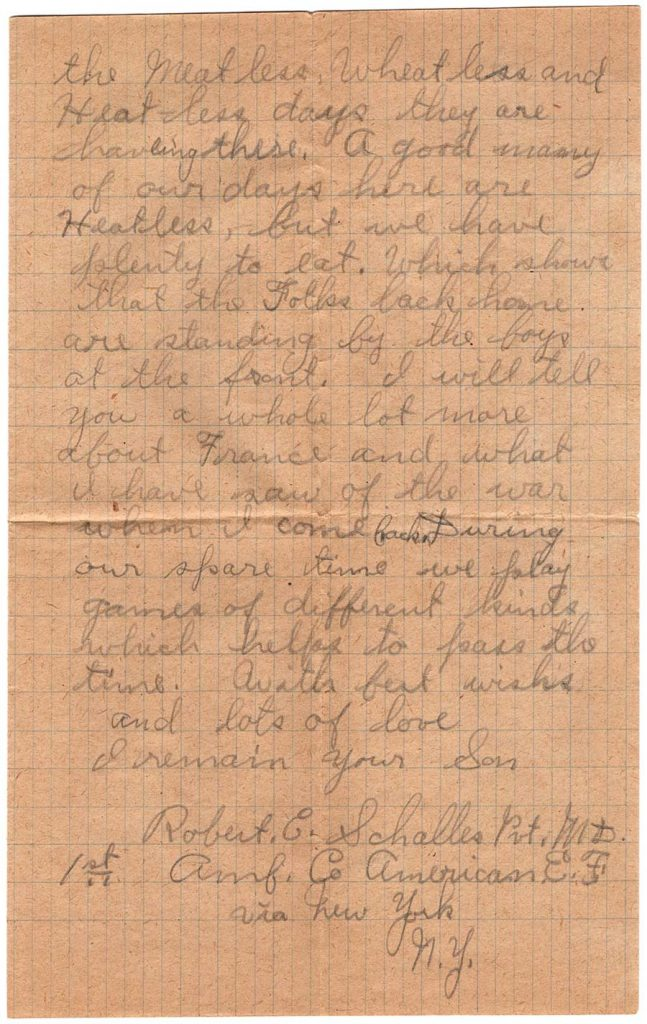 World War One (WWI) Letter by Robert E. Schalles, May 12, 1918, page 2