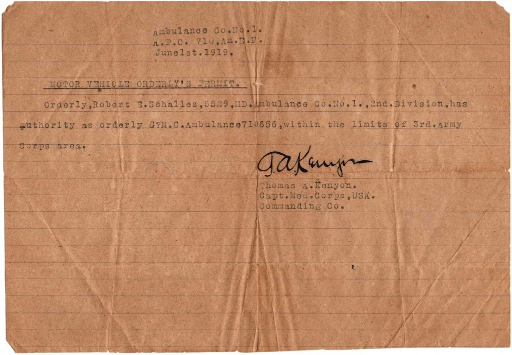 World War One Motor Vehicle Orderly's Permit, June 1, 1919