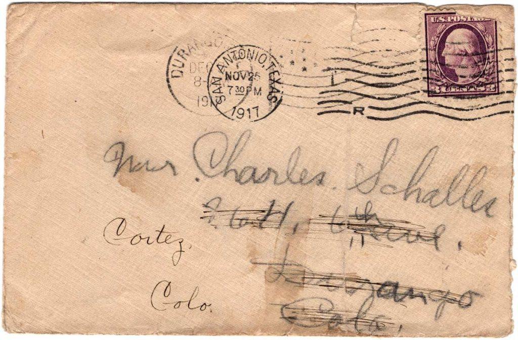 Letter by Robert E. Schalles, October 17, 1917 -Envelope