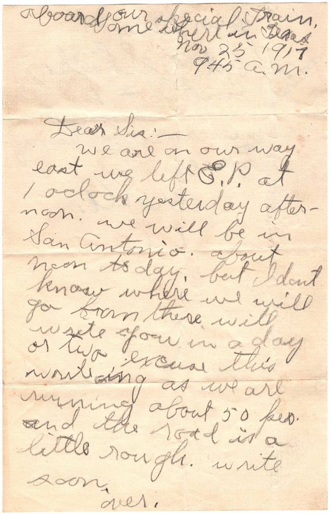 Letter by Robert E. Schalles, November 25, 1917 - To Sis - Page 1