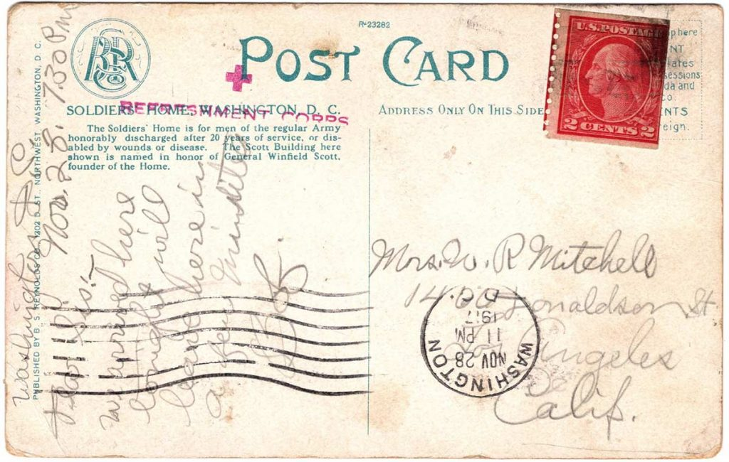 Postcard by Robert E. Schalles, November 28, 1917 : Back with Message