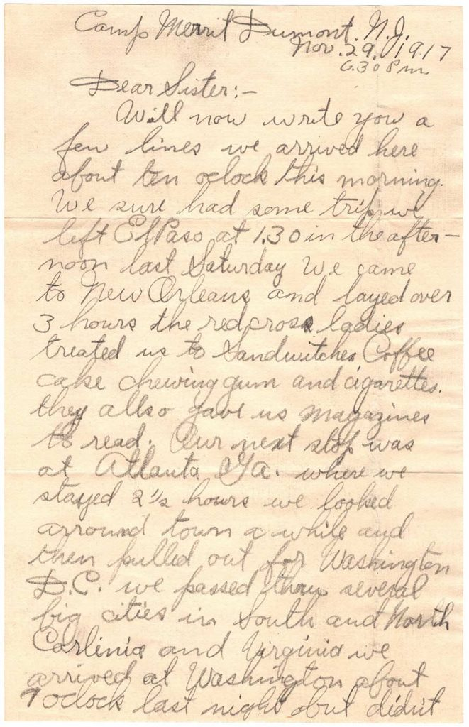 November 29, 1917 WWI letter by Robert E. Schalles, Page 1