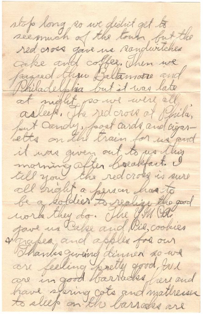 November 29, 1917 WWI letter by Robert E. Schalles, Page 2