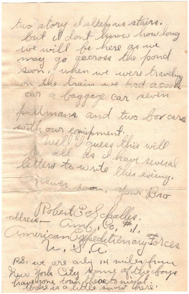 November 29, 1917 WWI letter by Robert E. Schalles, Page 3