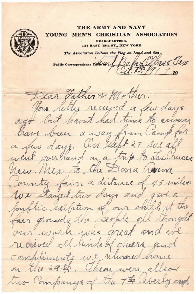 Letter by Robert E. Schalles, October 17, 1917 - page 1