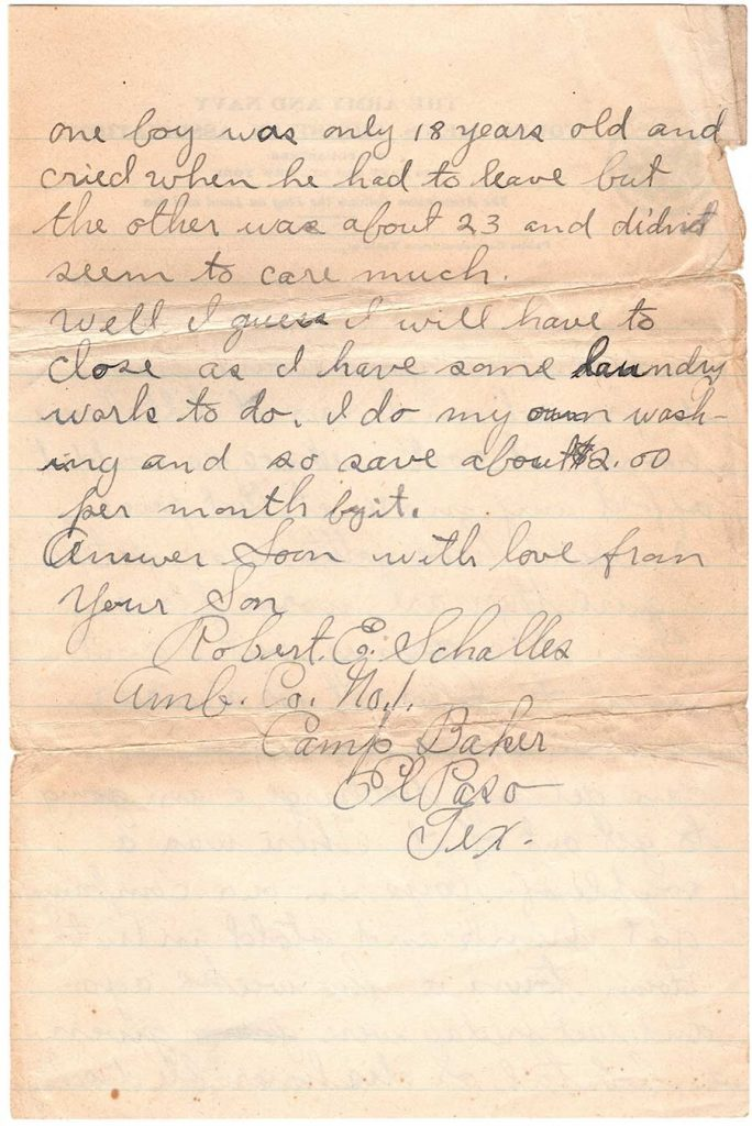 Letter by Robert E. Schalles, October 17, 1917 - page 5