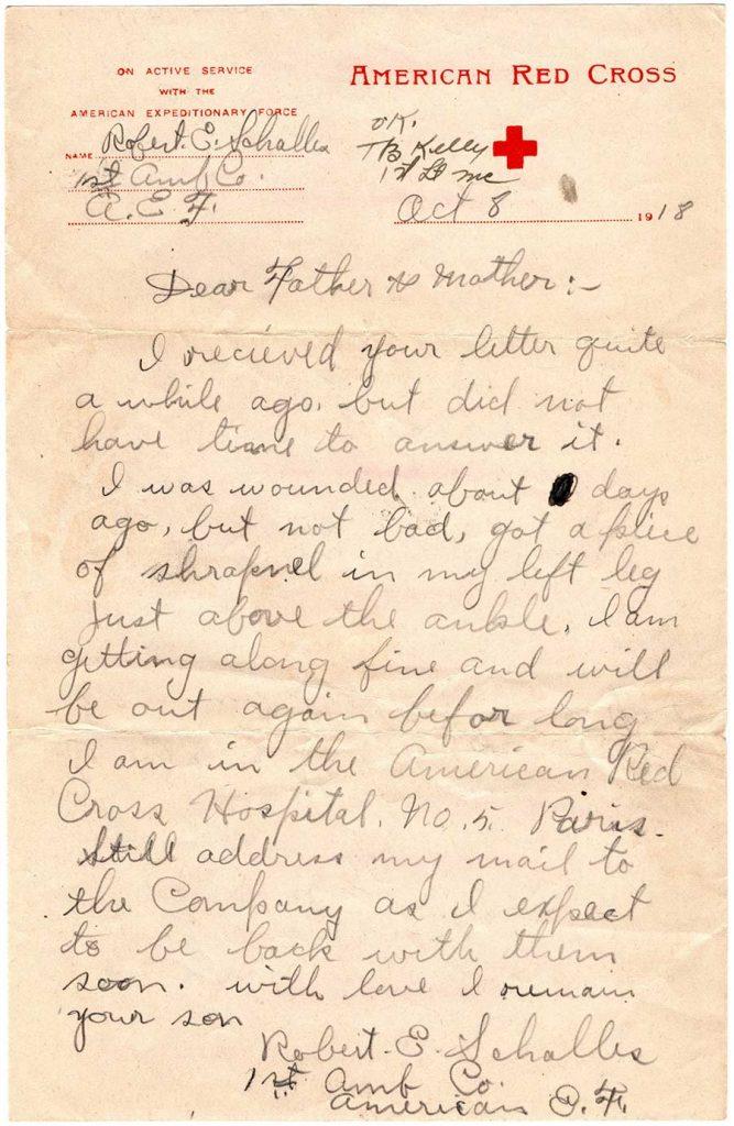 World War One (WWI) Letter by Robert E. Schalles, October 8, 1918
