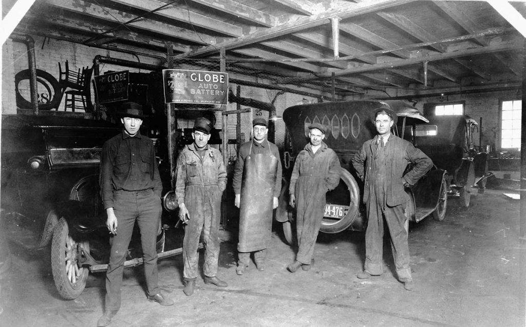 Robert Schalles (middle) at Globe Auto Battery