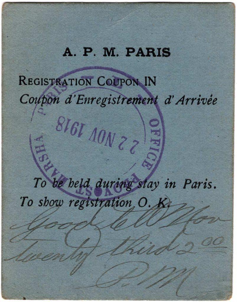 World War One Paris Pass of Robert E. Schalles