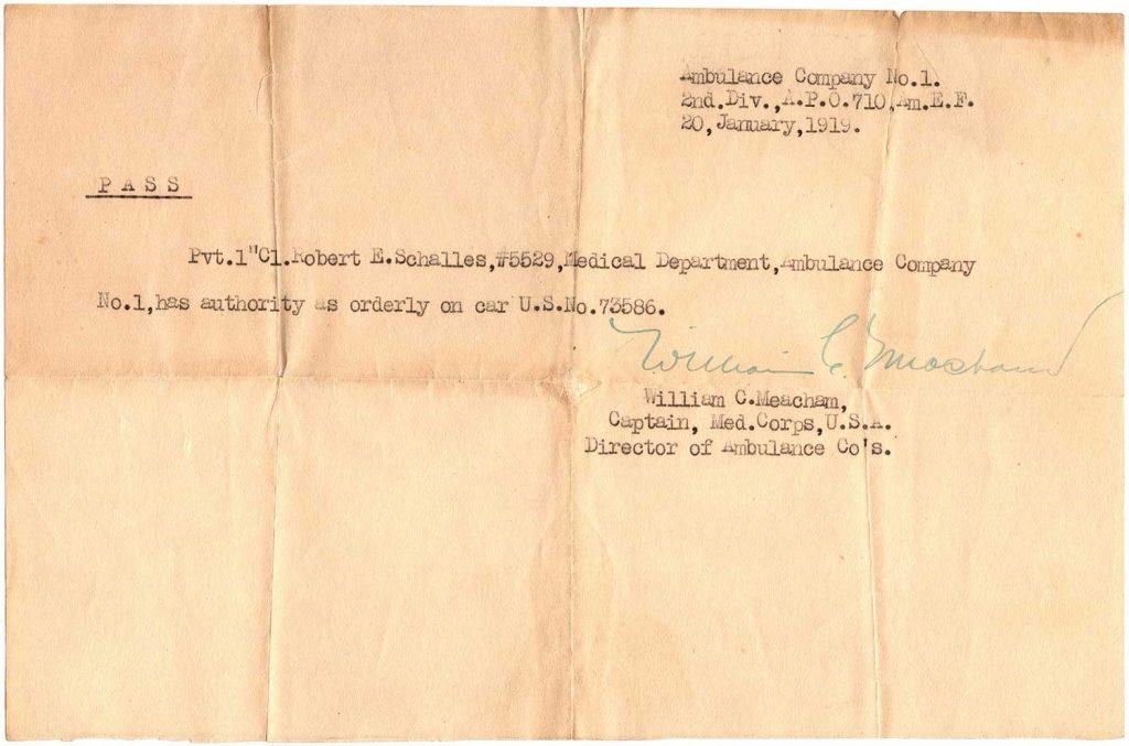 World War One Pass, Ambulance Co. No. 1, January 20, 1919