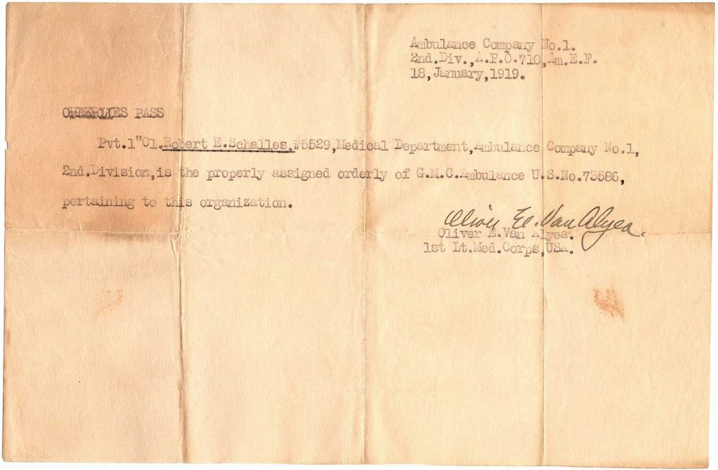 World War One Pass, Ambulance Co. No. 1, January 18, 1919