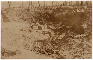 Verdun. Man in trench clearing some stuff