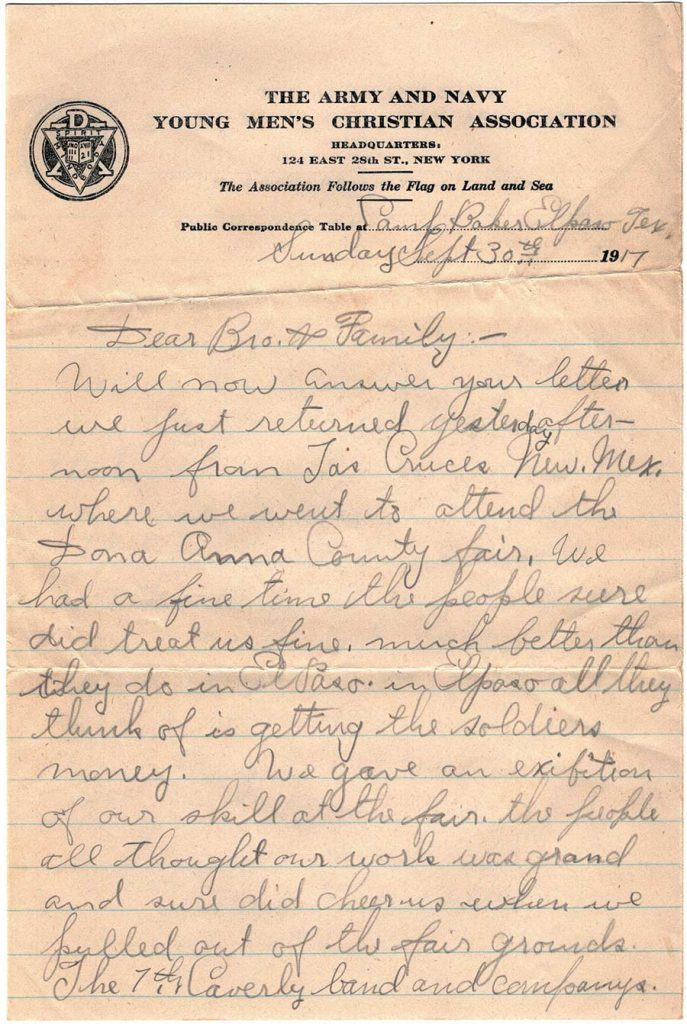 Letter by Robert E. Schalles, September 30, 1917 - page 1